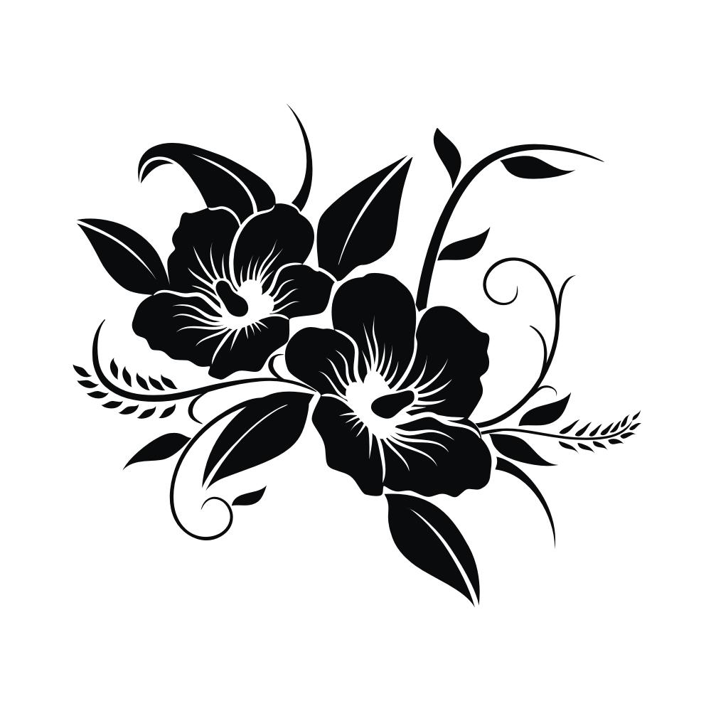 K005 Hibiskus Blumen Kühlschrank Aufkleber Wandtattoo Küche