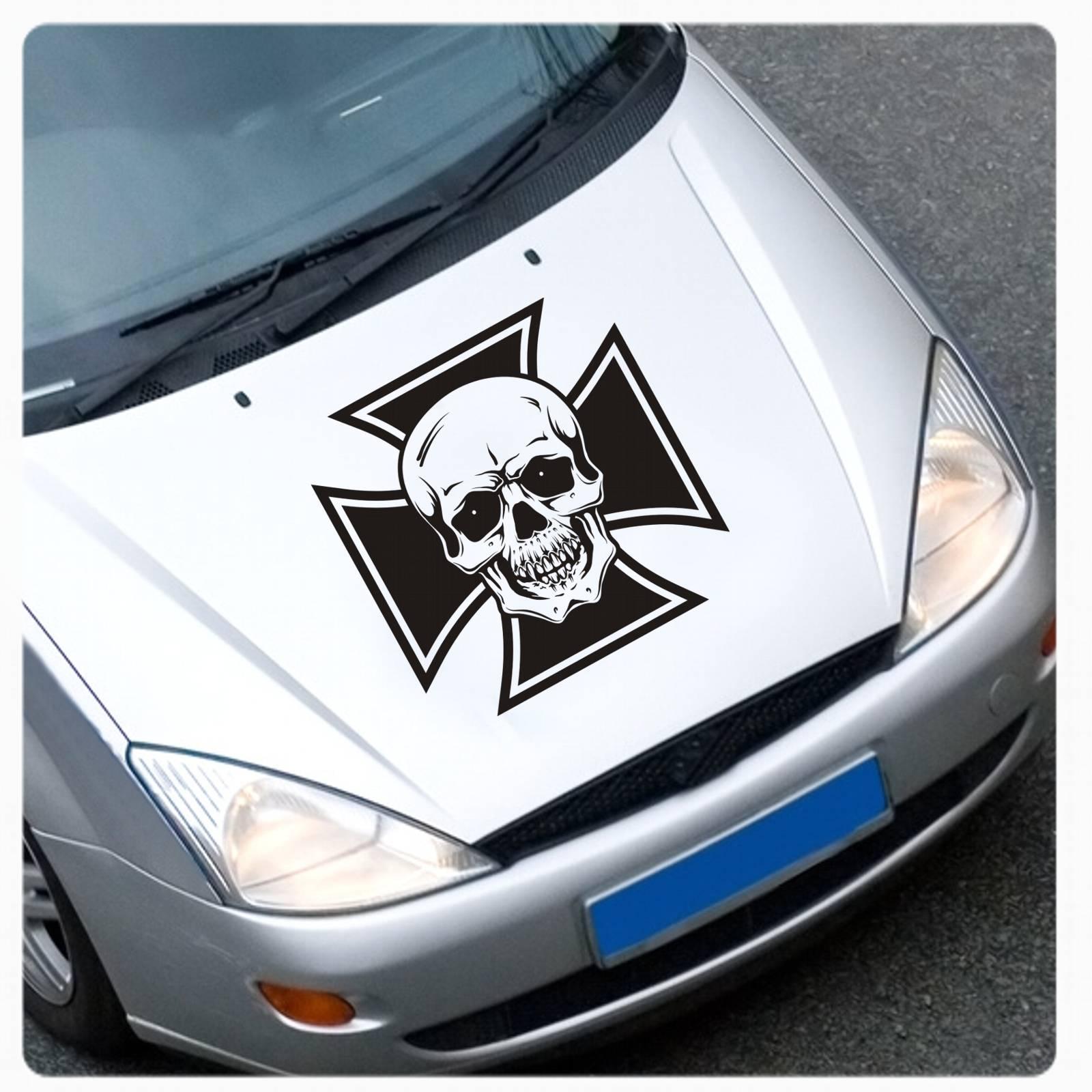 Eisernes Kreuz Skull Auto Aufkleber Motorhaube Sticker Cross