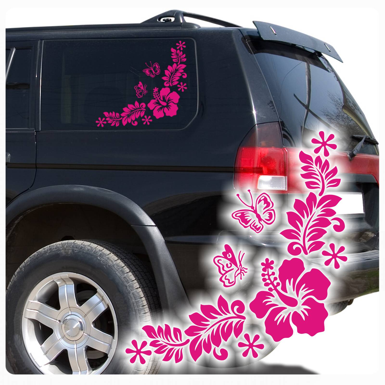 auto aufkleber hibiskus hawaii blumen schmetterlinge. Black Bedroom Furniture Sets. Home Design Ideas