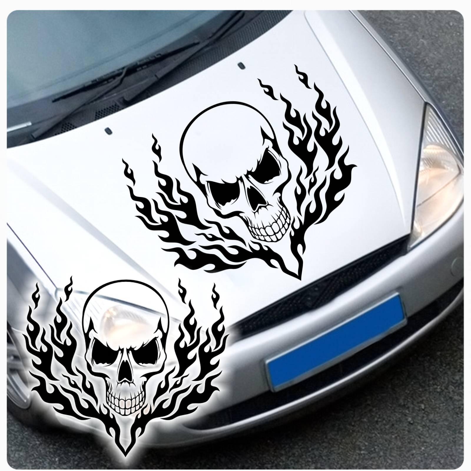 Tribal Flames Skull Autoaufkleber Motorhauben Aufkleber
