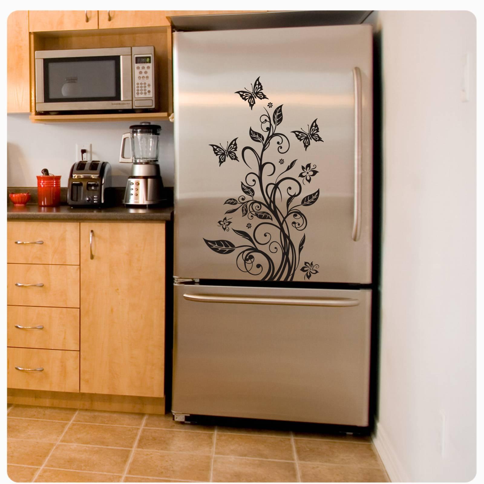 k hlschrankaufkleber hibiskus schmetterling k hlschrank aufkleber ranke k015 ebay. Black Bedroom Furniture Sets. Home Design Ideas