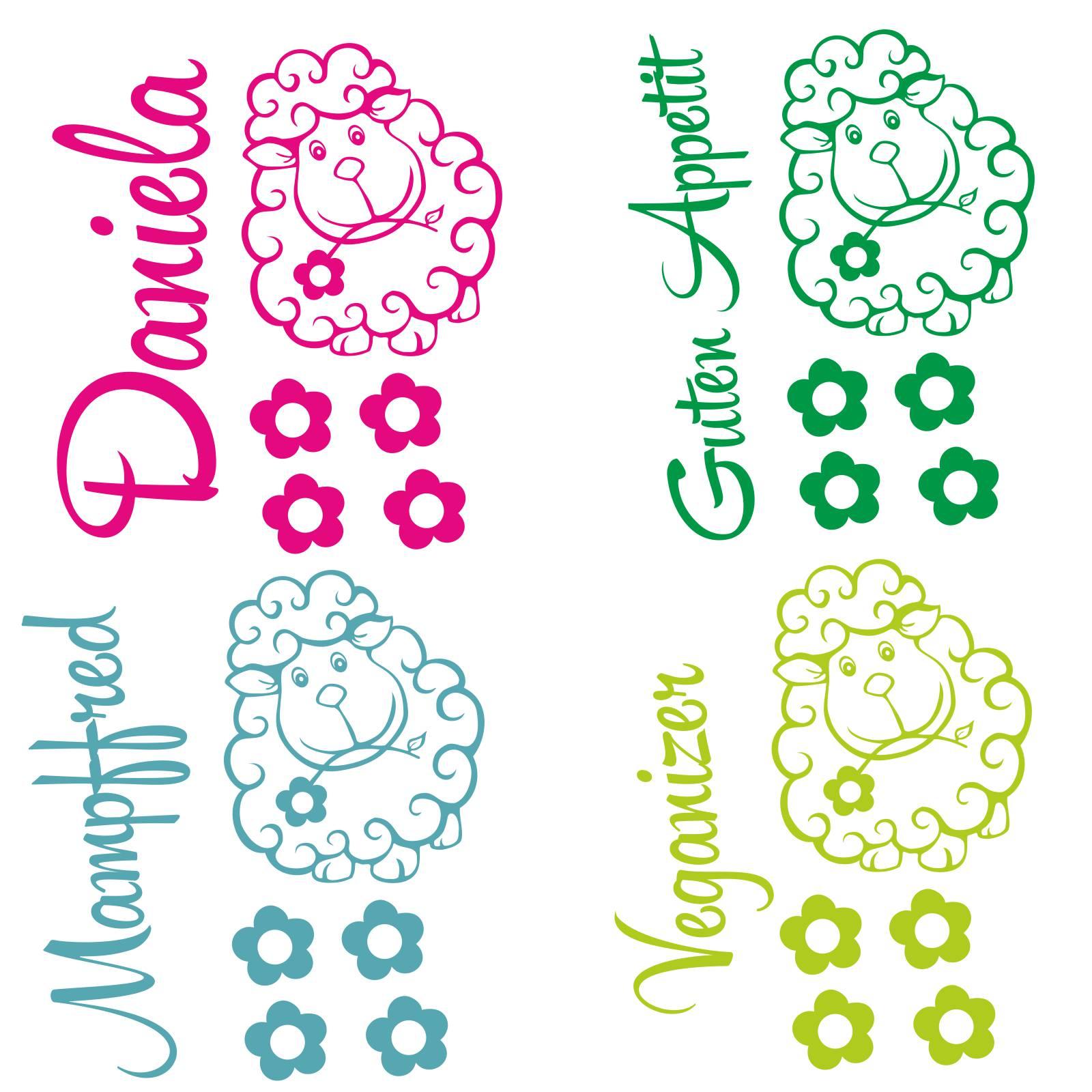 Wunschtext Schaf Blumen Aufkleber Sticker Für Thermomix Tm5