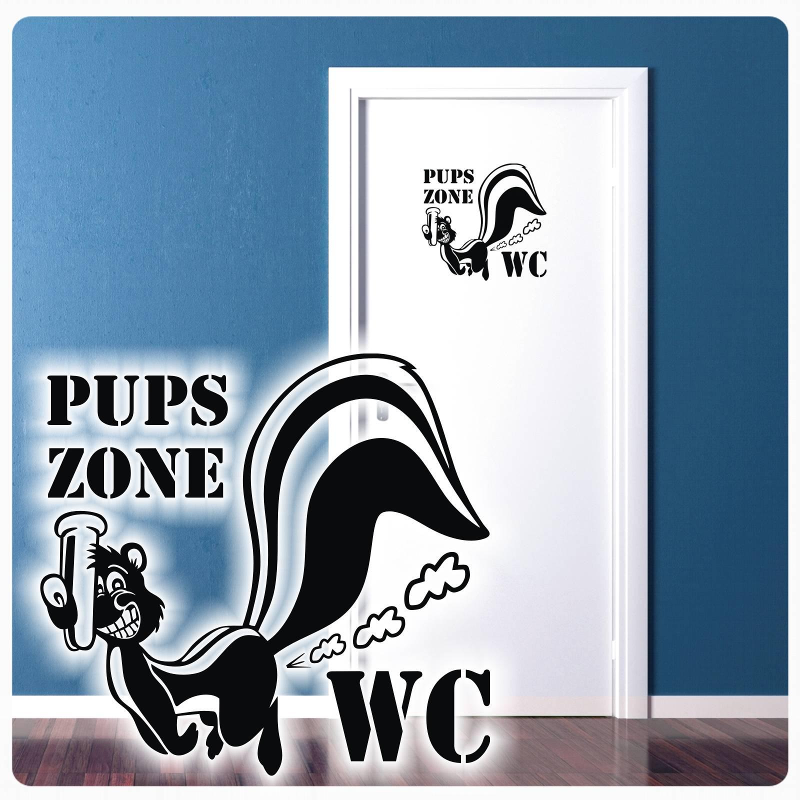 WC Aufkleber PupsZone Toilette Klo Klodeckel Toilettendeckel 20 x 19 cm schwarz