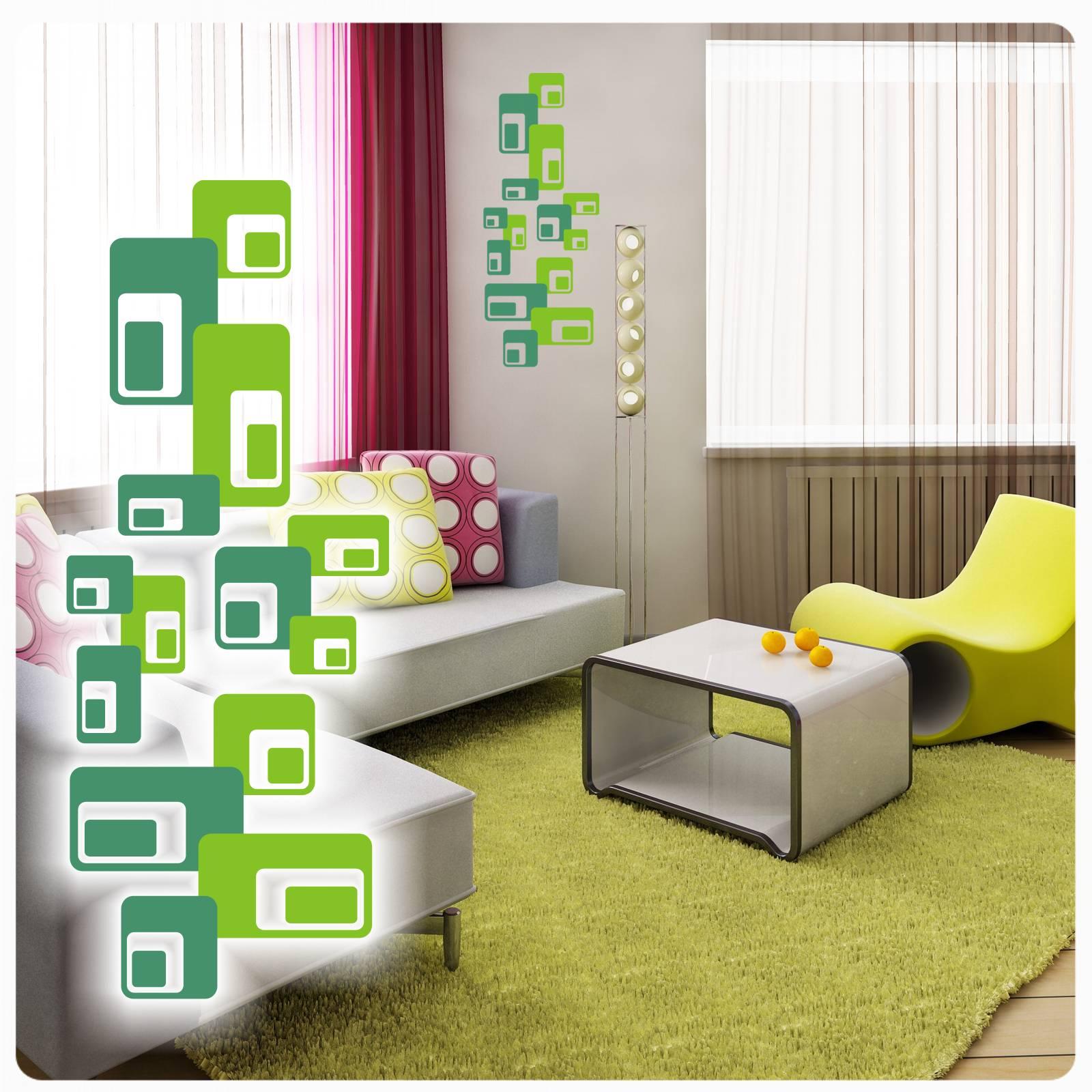 Retro cubes ecken vintage wandtattoo wandaufkleber for Bildmotive wohnzimmer