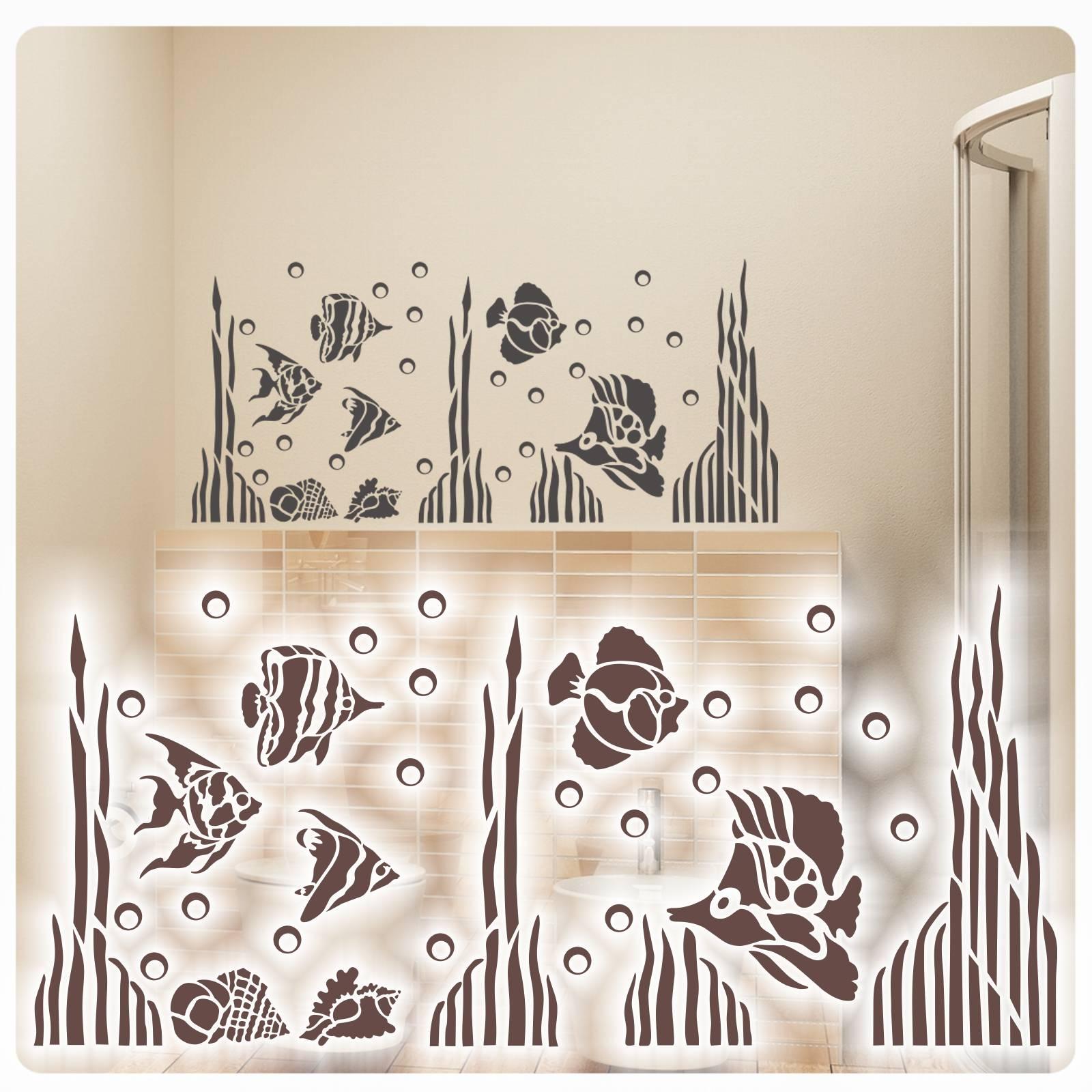 Wandtattoo Fische Wandaufkleber Badezimmer WC Deko Maritim
