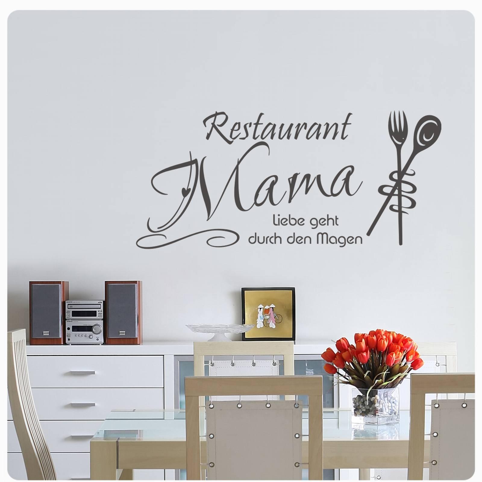 Restaurant Mama//Liebe geht. Deko Küche Esszimmer Essen Wandaufkleber WandTattoo