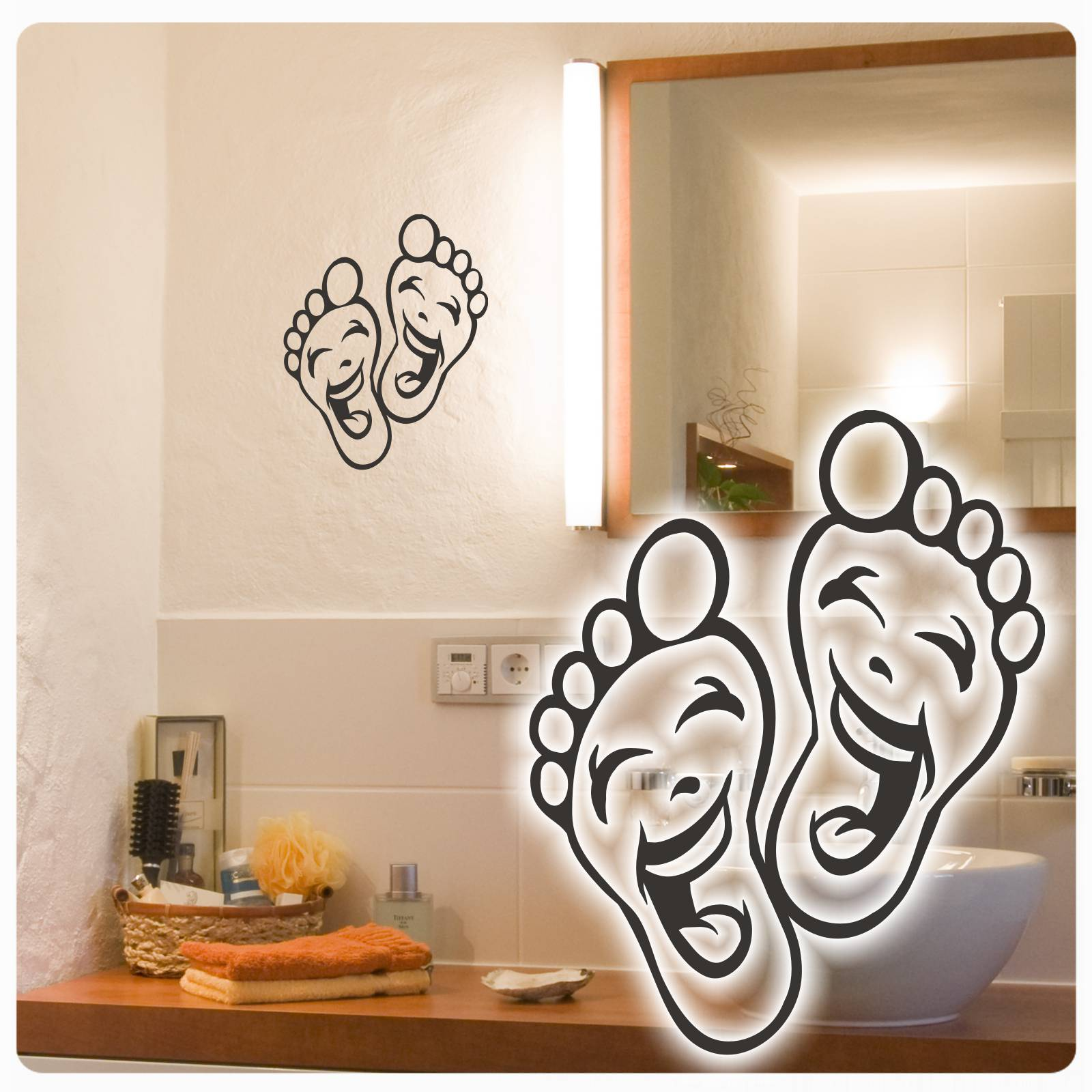 lustige f sse wandtattoo f e fu f sse sticker wandaufkleber walltattoo w1775 ebay. Black Bedroom Furniture Sets. Home Design Ideas