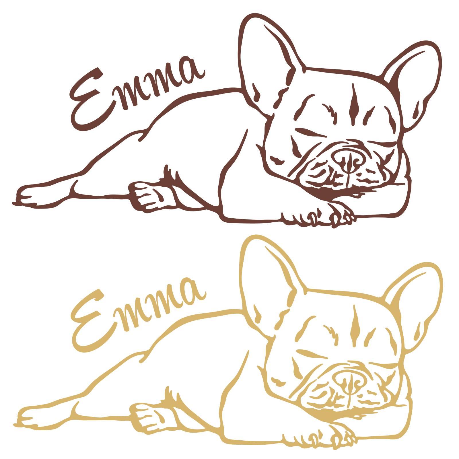 wandtattoo französische bulldogge wunschname wandaufkleber