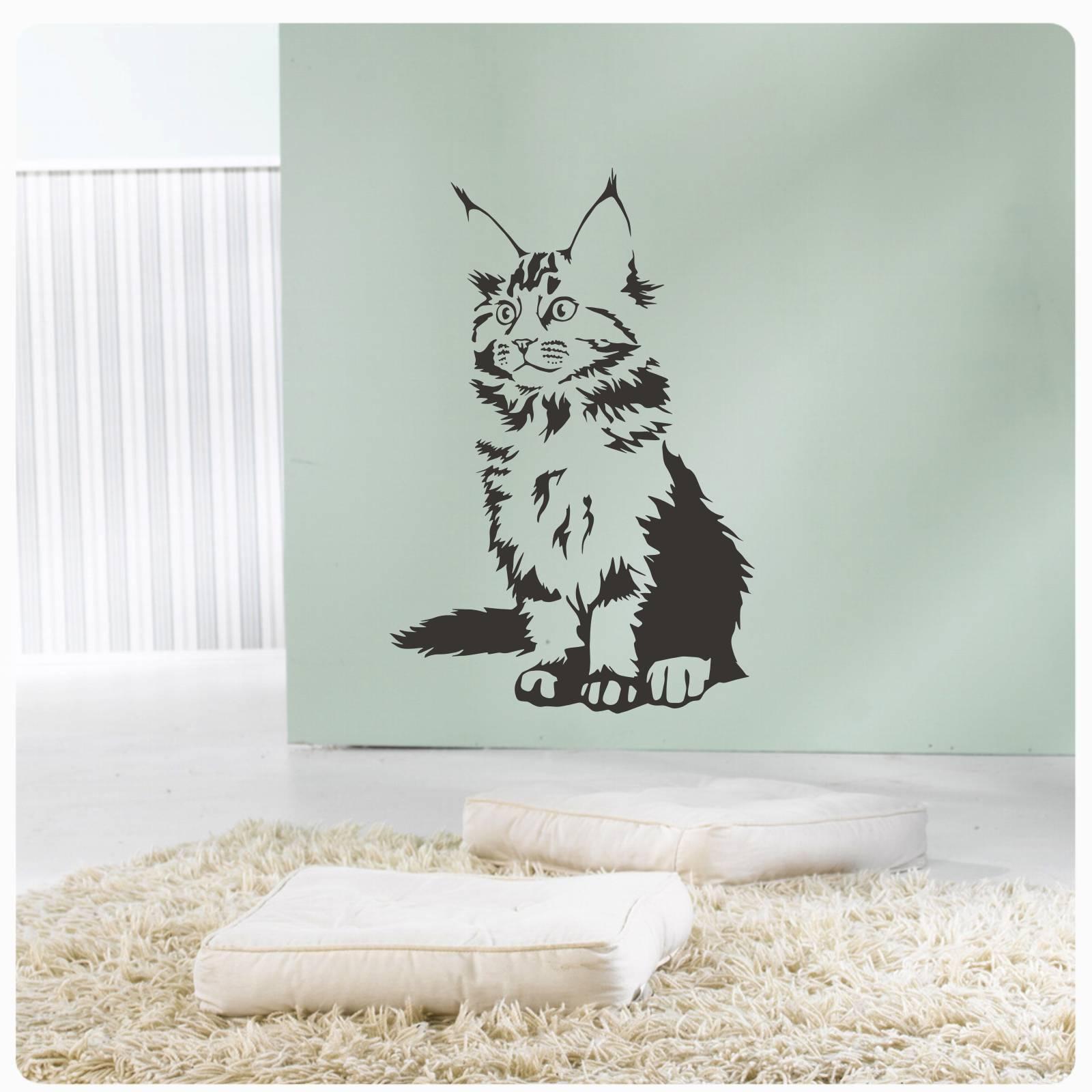 Katze Maine Coon Wandtattoo Wandaufkleber Sticker Rassekatze W600 Ebay