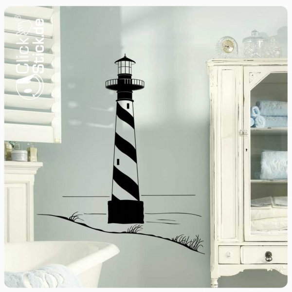 w160 leuchtturm maritim wandtattoo wandaufkleber meer bad. Black Bedroom Furniture Sets. Home Design Ideas