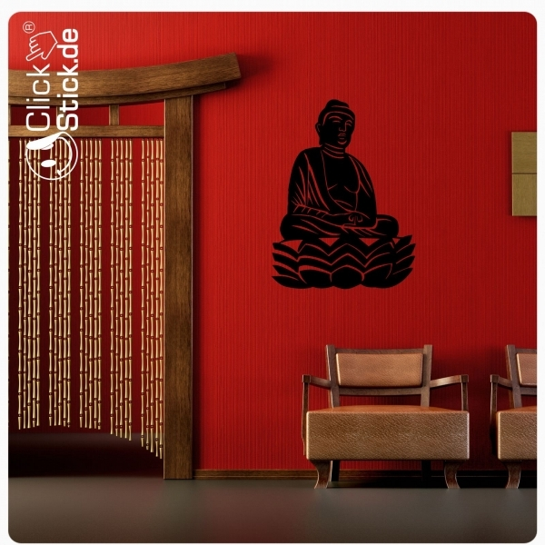 w175 buddha asia wandtattoo wandaufkleber badezimmer. Black Bedroom Furniture Sets. Home Design Ideas